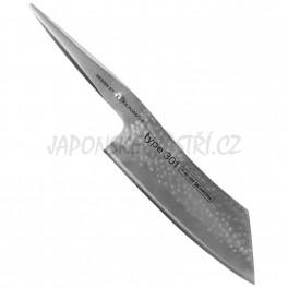 P-40 HM - CHROMA Type 301 Hakata Santoku nůž s tepanou čepelí, ostří 19cm